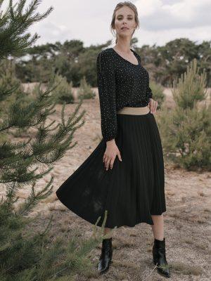 Longue jupe plissée unie - Kaki